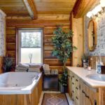 Рациональное решение ддля ванной комнаты в срубе