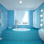 Лазурные тона в отделке ванной