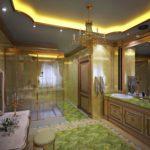 Потолок в ванной с люстрой и подсветкой