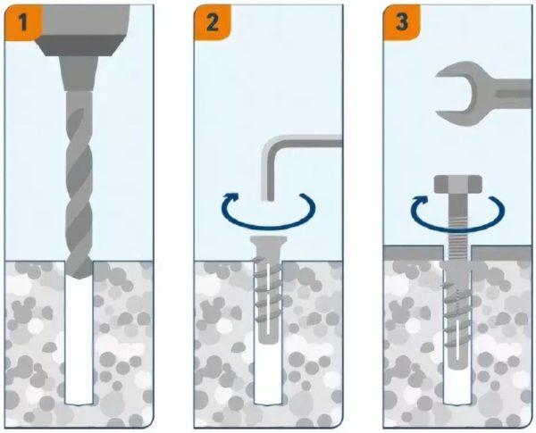Схема монтажа с использованием специальных дюбелей в стены из газобетона