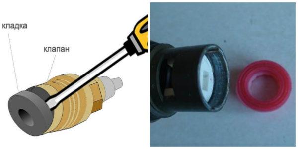 Как снять прокладку с полуоборотной кран-буксы