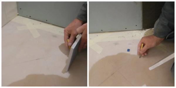 Учет толщины гипсокартона и плитки