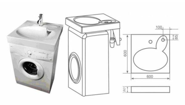 Внешний вид и чертеж раковины на стиральную машину