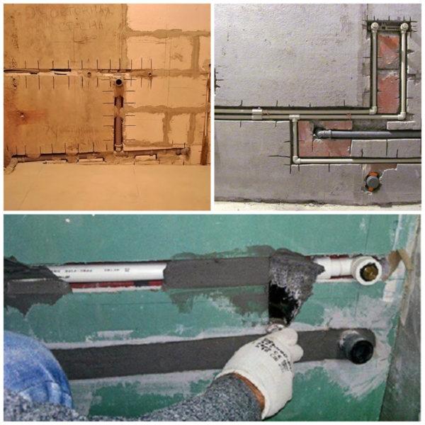 Технология монтажа труб в стену в ванной комнате