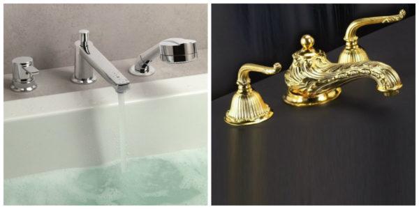 Смесители на борт ванной в современном и ретро стиле