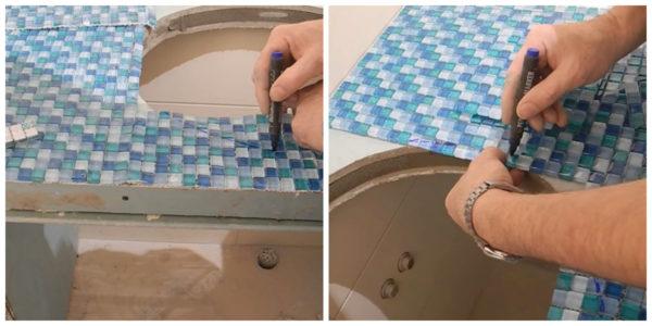 Разметка мозаики под умывальник