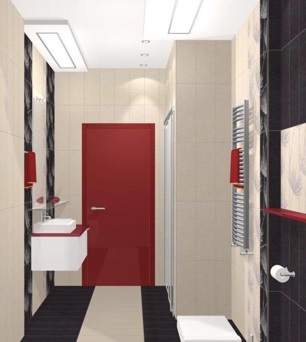 Красная дверь в ванной