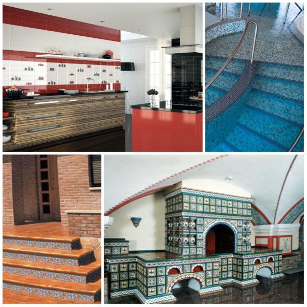 Плитка в разных условиях эксплуатации: кухня, бассейн, крыльцо, печь