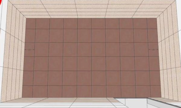 Равномерное распределение плитки по полу