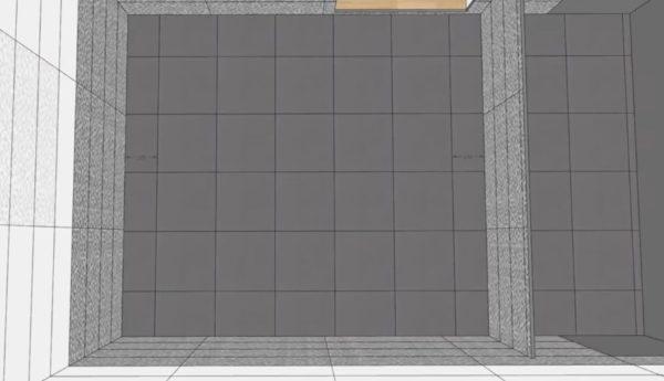 Распределение плитки между ванной и стеной