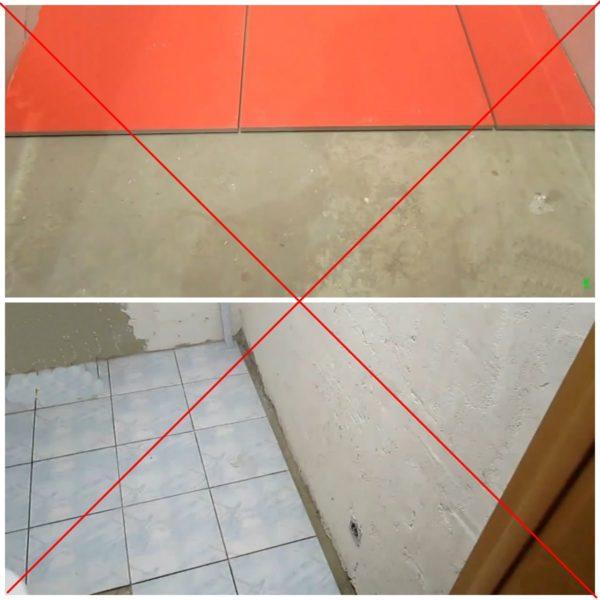 Примеры неправильной раскладки плитки