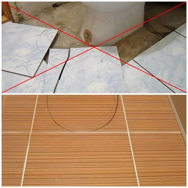 Укладка плитки без демонтажа унитаза
