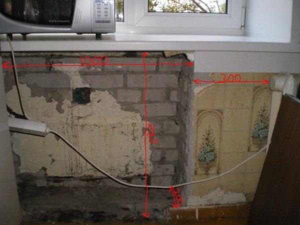 Демонтаж отделочных материалов из ниши