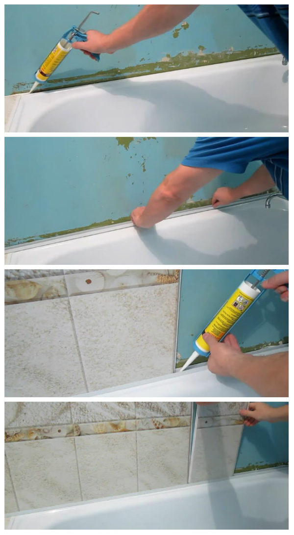 Этапы зашивки стены над ванной