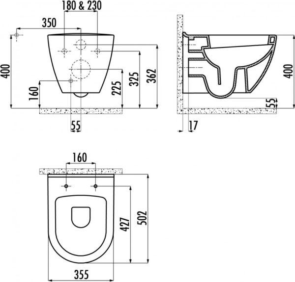 Конструкция чаши Creavit TP325