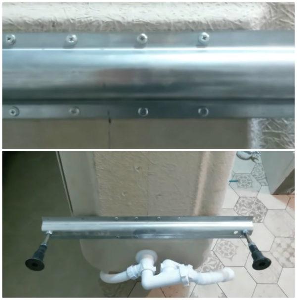 На купель устанавливаются заводские ножки и сантехническая обвязка