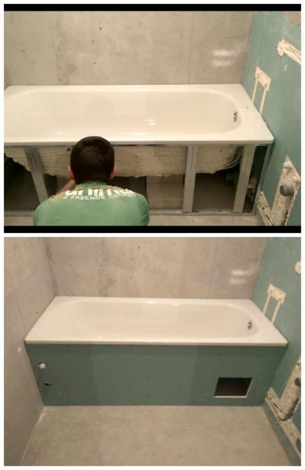 Завершающие этапы установки ванны