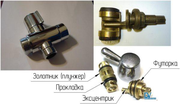 Общий вид золотникового дивертора, основные элементы
