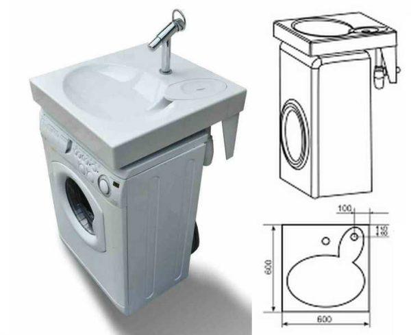 Комплект стиральная машина с раковиной для ванной комнаты