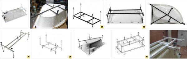 Разновидности штатных каркасов для акриловых ванн