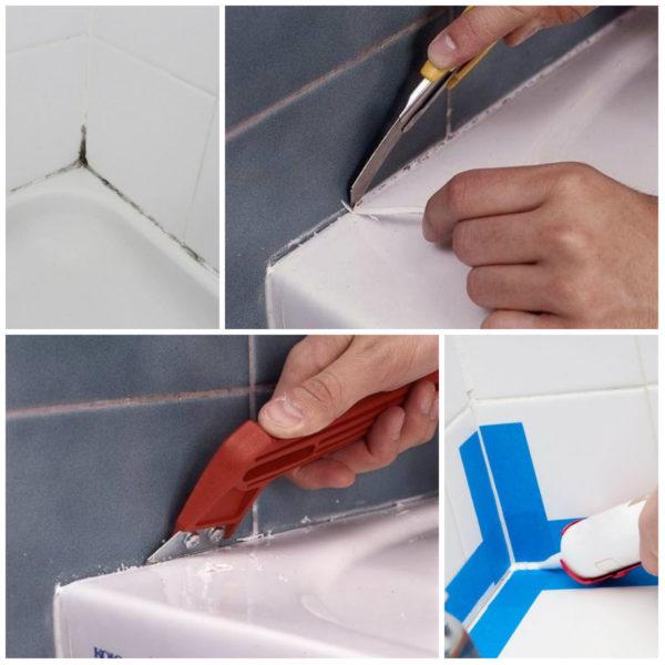 Чем отмыть силиконовый герметик с ванной