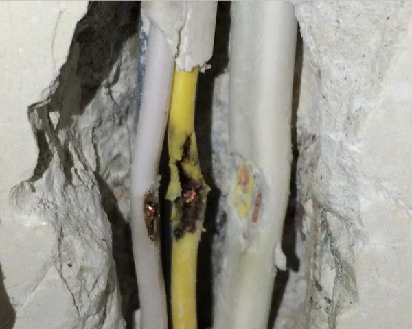 Повреждения проводки перфоратором