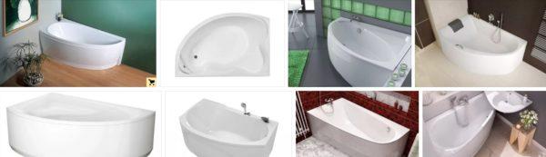 Варианты угловых ванн