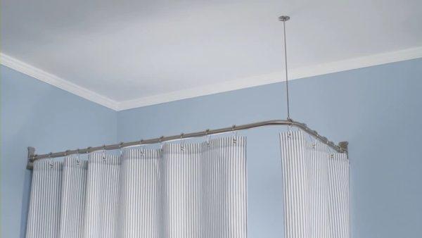 Трубчатая гардина угловая с подвесом к потолку