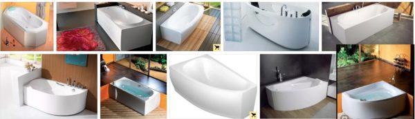 Разнообразие форм акриловых ванн