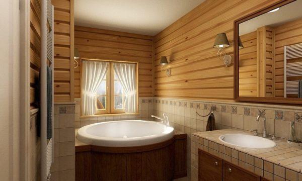 Вагонка с плиткой в ванной
