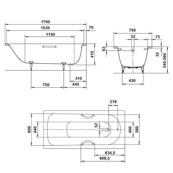 Геометрия чаши Saniform Plus