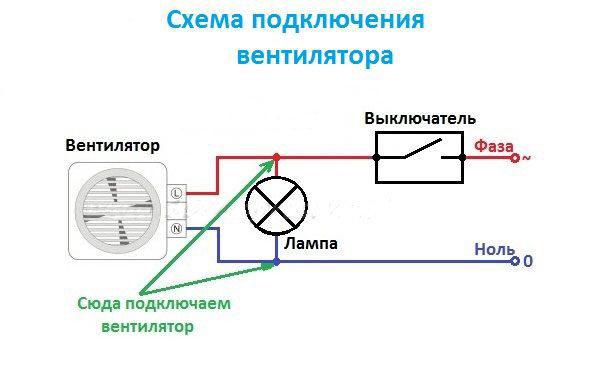 Параллельная схема подключения вентилятора в ванной