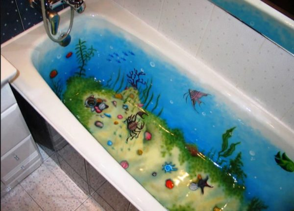 Роспись ванны изнутри