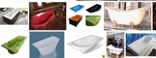 Ассортимент ванн из литьевого мрамора