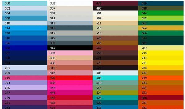 Стандартная таблица RAL цвета для винилового натяжного полотна