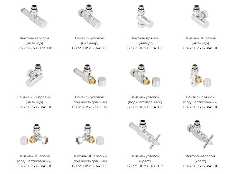 Комплектующие фитинги для различных вариантов подключения полотенчика