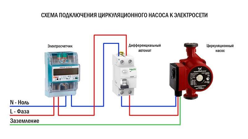 Схема электроподключения насоса